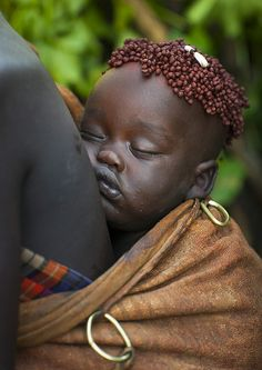 Bodi Tribe Baby Asleep With Coffee Bean Hairstyle, Hana Mursi, Omo Valley, Ethiopia | Flickr - Photo Sharing!