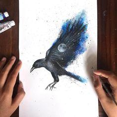 The Raven by Kathrin Schwarz Raven, Watercolor Tattoo, Moose Art, Tattoos, Drawings, Animals, Watercolor, Black, Tatuajes