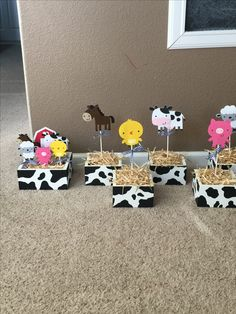 Barnyard Centerpieces created by Sonia Villagomez Party Animals, Farm Animal Party, Farm Animal Birthday, Barnyard Party, Cowgirl Birthday, Cowgirl Party, Farm Birthday, Farm Party, Cow Birthday Parties