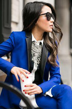 NYFW :: Banana Republic and Marissa Webb Outfit :: Banana Republic suit , Marissa Webb top, Miu Miu shoes  Published: September 14, 2015