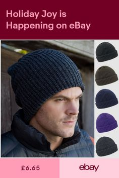 3e900104918 Beanie Hat Ribbed Knit Skater Ski Wooly Winter Warm Fisherman Mens Womens  Ladies