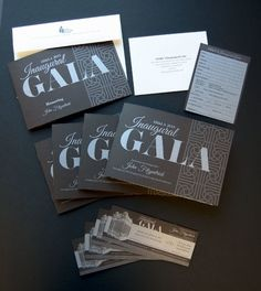 2013 Inaugural Gala invitation, Dinner program, tickets, and reply card printed in silver ink on Neenah Classic Columns in Canyon Brown. Gala Invitation, Invitation Design, Invitation Cards, Party Invitations, Wedding Stationery Tips, Prom Decor, Event Branding, Gala Dinner, Wedding Favours
