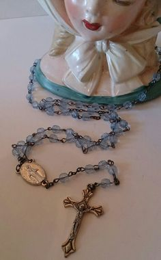 Vintage Superb Quality Blue Rosary Beads with Crucifix and Plaque £10 + £1 p&p