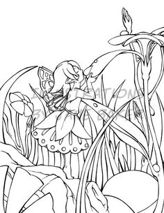 fairy flower girl digital stamp coloring book illustrations by jane baker - Flower Girl Coloring Book