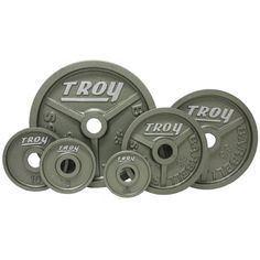 Troy High Grade Fully Machined Wide Flanged Olympic Plate. Rich baked Hammertone Gray enamel. Designed for all 2 in bars. ASTM Grade 20 cast iron. High Grade machined plates.