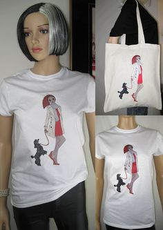 Tee + Tote Package. Round Neck T-shirt and Tote bag Alice with Black Poodle design by Alice Brands