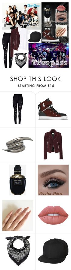 """""""Monsta X~Trespass"""" by jimintookmyjams ❤ liked on Polyvore featuring WithChic, SWEAR, Stephen Webster, Balenciaga, Alexander McQueen, Lime Crime and UB by N.A.R."""