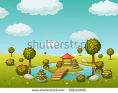 garden with lake and bridge  #assets #game #vector #UI #cartoon #casual #awesome