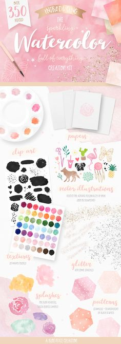 The Sparkling Watercolor Kit includes watercolor textures and backgrounds, Photoshop styles, glitter overlays, watercolor splashes, vector illustrations, patterns and more! Watercolor art made easy! Find it now at Creative Market.