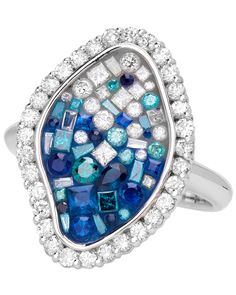 Sapphire & diamond ring from the Blue Ombre Collection. By Pleve.
