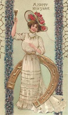 LOVELY LADY Toasting the NEW YEAR On Beautiful Vintage 1909 NEW YEAR Postcard