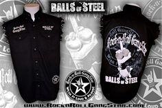 b32393dc80b Balls Of Steel denim cut off sleeveless biker shirt Rock n Roll Heavy Metal  clothing apparel accessories Rock n Roll GangStar