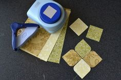 Rounded squares-super easy to do using CM corner cutter and square punch.