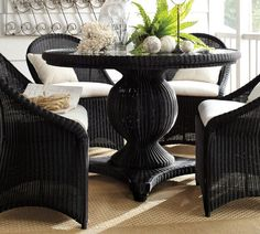 /\ /\ . Palmetto All-Weather Wicker Round Pedestal Dining Table - Black