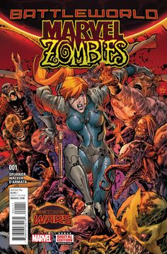 MARVEL ZOMBIES #1. Marvel Comics. Written by Simon Spurrier, illustrated by Kevin Walker, colored by Frank D'Armata, and feature a regular cover by Ken Lashley, a variant cover by Greg Land, and an 'Ant-Sized' variant cover by Jerome Opena. This is the regular cover. Released June 10, 2015.