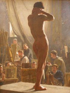 Male Nude in the Studio of Bonnat, 1877, Laurtiz Tuxen artist. - SB