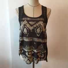 NWOT FREE PEOPLE tank top Ribbed front and has a crotchet back. Never worn, without tags. Has a slit down the side.  Bundles save Make an offer  No trades  Free People Tops Tank Tops