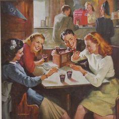 Vintage 1947 Coca Cola Coke Ad Advertisement Soda Fountain Coke Glasses Cooler #CocaCola