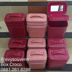 Ready Stock Box kosmetik Croco Merah, Pink Muda, Pink Fanta (Bahan luar Croco…