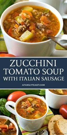 This Zucchini Tomato Italian Sausage Soup is a delicious way to use up all of those fresh garden vegetables! This Zucchini Tomato Italian Sausage Soup is a delicious way to use up all of those fresh garden vegetables! Healthy Diet Recipes, Healthy Soup Recipes, Vegetarian Recipes, Cooking Recipes, Cooking Tips, Keto Recipes, Spinach Recipes, Vegetarian Soup, Summer Soup Recipes