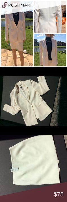 Beautiful winter white jacket sz2 and skirt sz0 WHBM jacket and skirt, dressy, hip length classic blazer, single button, flap pockets. Skirt has back slit and is above knee.  Never worn, skirt NWT White House Black Market Jackets & Coats Blazers