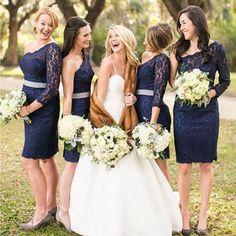 Elegant One Shoulder Long Sleeve Lace Navy Blue Knee Length Short Cheap Bridesmaid Dresses, WG128