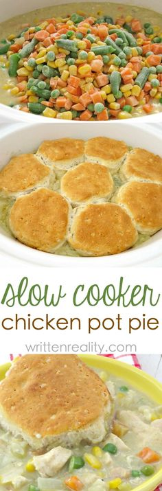 Easy Biscuit Chicken Pot Pie : This easy chicken pot pie recipe is made in the slow cooker with biscuits baked right on top. It's the perfect meal for busy weeknights, too. # Food and Drink slow cooker Easy Biscuit Chicken Pot Pie - Written Reality Crockpot Dishes, Crock Pot Cooking, Crock Pot Slow Cooker, Slow Cooker Recipes, Cooking Recipes, Pie Recipes, Recipies, Recipes With Biscuits, Easy Crockpot Recipes