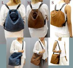 b3000017b6b leather backpack Crossbody convertible backpack purse Distressed brown  Shoulder bag Hobo handbag bag Handmade with love