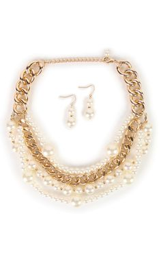 Deb Shops Jewelry Set with 4 Row Chunky Necklace with Pearls and Earrings $7.00