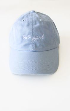 79c372a3d38 Description Details  Light blue six panel cap with  babygirl  embroidery   amp