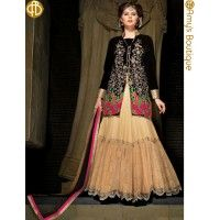 §  The Dazzling Black & Beige Georgette Anarkali Suit have amazing embroidery patch work is done with resham, zari, sequins, stone and latken