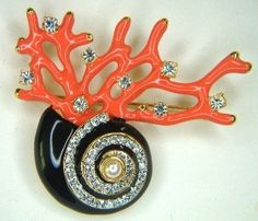 Kenneth J. Lane, Conch Shell on Coral Reef Brooch  (coral color & form, but not coral)