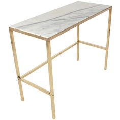 Brass and Marble Console Table or Desk after Paul McCobb ❤ liked on Polyvore featuring home, furniture, desks, paul mccobb furniture, brass console, paul mccobb, marble console and paul mccobb desk
