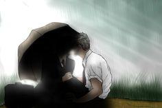 Mycroft Holmes / Gregory Lestrade / Mystrade / BBC Sherlock / umbrella / kiss / in the shadows / fanart / fan art