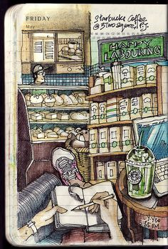 Journalling & coffee ~ Moleskine Pocket Diary, Lamy Safari Charcoal fountain pen (extra fine), Noodler's Ink – Polar Black, Derwent Inktense watersoluble colored pencils. It was fun and still one of my favorite drawings. Art Journal Pages, Sketch Journal, Art Journals, Drawing Journal, Watercolor Journal, Watercolour, Art And Illustration, Illustrations, Drawing Sketches