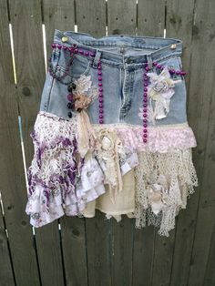 Shes a Gypsy Soul Upcycled Jean Skirt Bohemian by UpcycledRose, $89.20