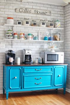 Organize This: China Cabinet I really like the shelves above. We could do something like this above our little cart in our kitchen.