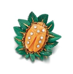 Sothesby's Magnificent Jewels ~ Coral, malachite and diamond brooch, David Webb