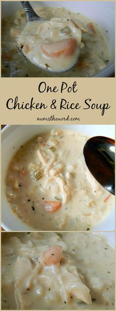 One Pot Chicken & Rice Soup - It doesn't get any easier or tastier than this one pot, 30 minute soup. If you love chicken & rice, then you should try this tasty soup. Favorite of mine! Have as a starter or a main! Creamy Chicken Rice Soup, Chicken Rice Recipes, Panera Chicken Rice Soup Recipe, Cream Of Chicken Rice, Shredded Chicken Recipes, Crockpot Recipes, Cooking Recipes, One Pot Chicken, Chicken Soups