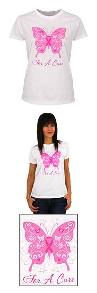 Pink Ribbon for a Cure Butterfly Tee at The Breast Cancer Site