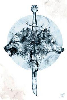 Эскиз тату с волками и мечом
