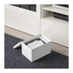 Buy IKEA TJENA Storage Box with Lid White. This box can be used for organising smaller things like cables, tape or strings. Storage Boxes With Lids, Small Storage, Storage Ideas, Ikea Canada, Recycling Process, Waste Paper, Living Room Storage, Box With Lid, Desk Accessories