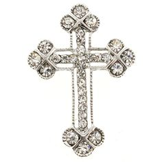 19e775a24aaf Silver Cross Pin Austrian Crystal Pin Brooch And Pendant(Chain Not Included)