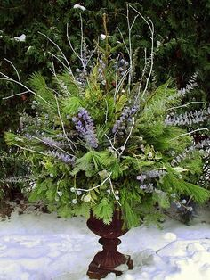 Winter pot 2 by Chalets Specialty Garden Care staff. Several winter pots for inspiration. Love this blue arrangement. Christmas Urns, Christmas Planters, Christmas Arrangements, Outdoor Christmas Decorations, Winter Christmas, Floral Arrangements, Christmas Wreaths, Winter Decorations, Fall Winter