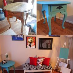 Before and after of my $14 thrifted table. I wanted a vintage look so I made it rustic by sanding some edges after painting. I picked a teal blue to make it more modernized . Thanks for everyone's input!  Now all I need is to create a painting to flow with the theme:)