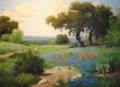 """Springtime in Texas,"" painted by Bastrop native Porfirio Salinas in about 1950"