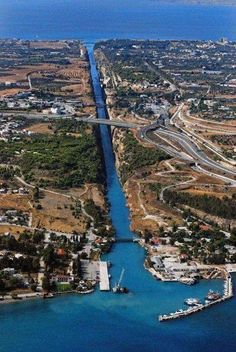 ~Corinth Canal~ When you see the depth from the bridge and realize men dug that by hand. My grandfather was from a village called Pitsa in Corinth. Mykonos, Santorini, Albania, Corinth Canal, Corinth Greece, Places To Travel, Places To See, Travel Around The World, Around The Worlds