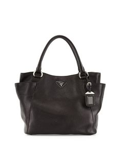 Daino Side-Pocket Tote Bag, Light Gray (Argilla) by Prada at ...