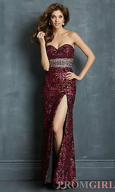 Floor Length Strapless Sweetheart Sequin Dress at PromGirl.com#prom#dress#promdress