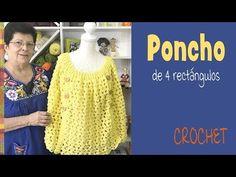 Poncho de 4 rectángulos tejido a crochet- Tejiendo Perú - YouTube